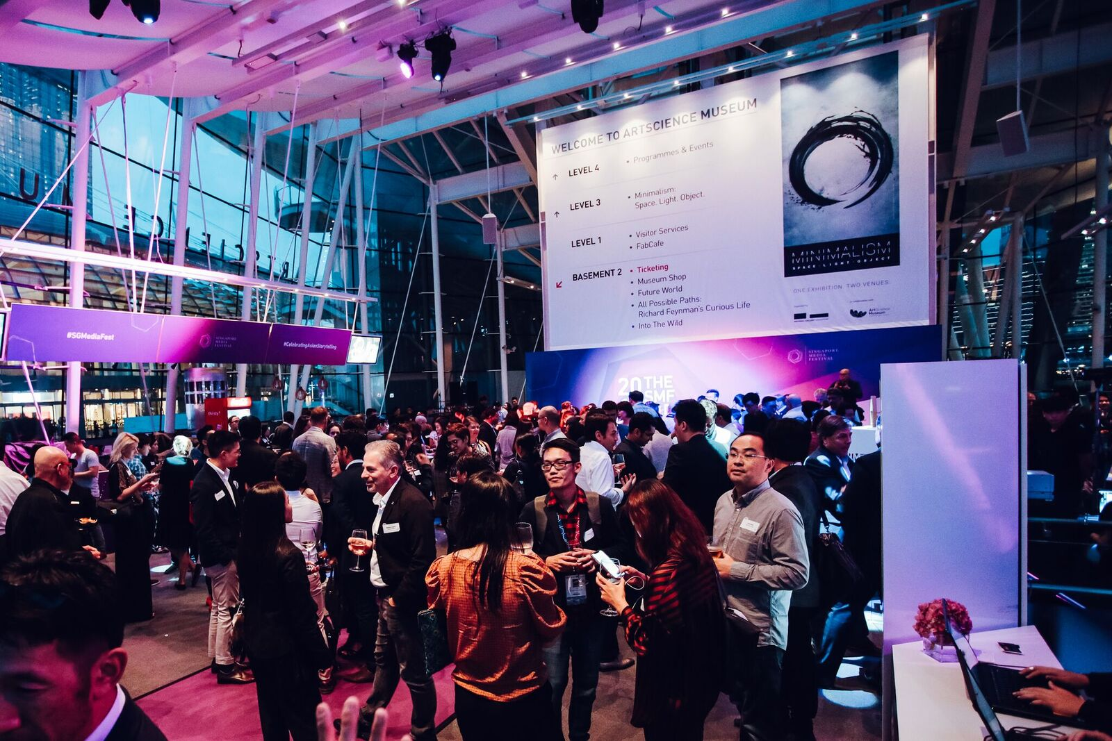 Guests mingling at the SMF Party